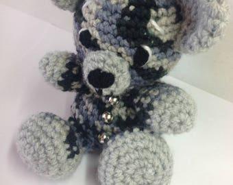 Two-tone grey and black bear crochet #35