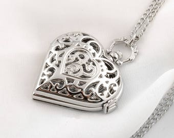 Pocket Watch Necklace Heart