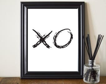 XO Chalk Print. XO Chalk Printable. XO Minimalist Print. Xo Art. Xo Poster. Love Minimalist Art. Love Typography Print. Black and White.