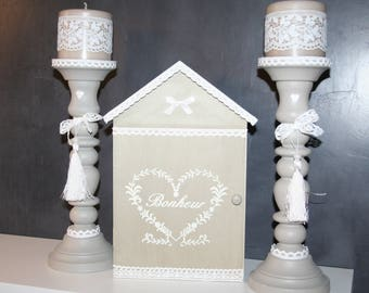 "white wooden key box, and taupe lace heart ""happiness"""