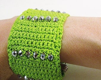 Green textile Cuff Bracelet with faceted glass beads