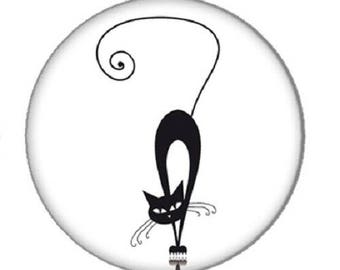cabochon black cat, 25mm