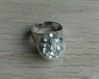 Ring silvered with Rhinestone snowflake