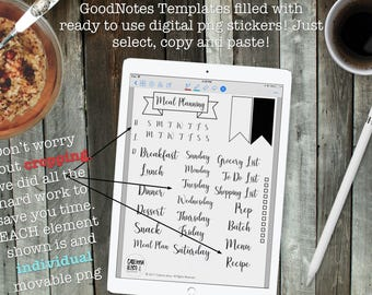 Digital Meal Planning | GoodNotes Template | PDF files and PNG Stickers | Portrait and Landscape files