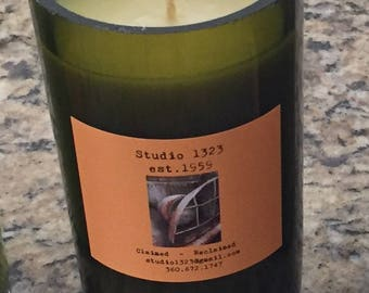 Reclaimed wine bottle soy / scented candles