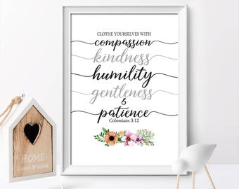 Bible verse Printable, Clothe Yourselves With Compassion, Colossians 3:12, Bible Verse, Christian wall art, Scripture Printable, home decor