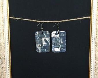 Rectangle Spells wood earrings
