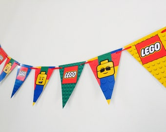 Lego Legoman Party Birthday Bunting Banner Flags. Supplies Lolly Loot Bag Cake Invitation Man Movie