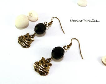 Bronze earrings with owls