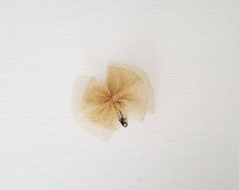 Baby gold tulle bow hair clip
