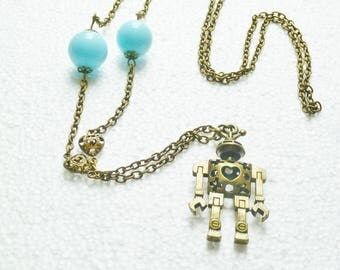 Fantasy robot and blue beads