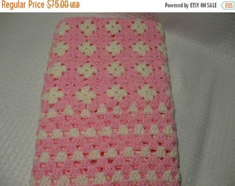 25% Off Pink and White Baby Blanket, Girl Baby Blanket, Crochet Baby Blanket, Pink Granny Square Baby Blanket