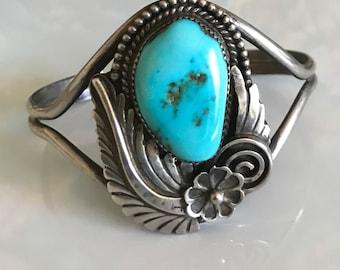 Vintage Navajo Tom Ahasteen Sterling Turquoise Cuff Bracelet