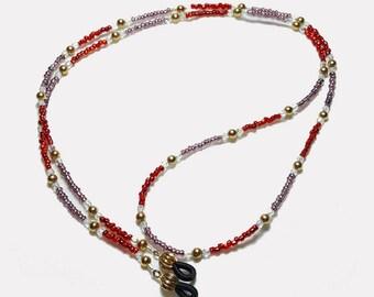 Ruby Red Amethyst Purple GF Beaded Eyeglass Chain