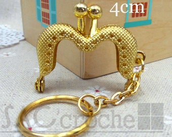 1 x small Vintage clasp 4 CM for bag purse gold color with fomrez M ring