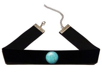 Black velvet Choker Gothic Soyokay turquoise bead
