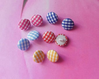 Set of 10 fabric buttons gingham 14mm in diameter