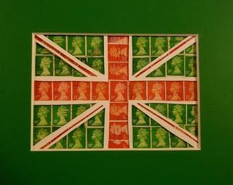 Postage Stamp Collage - Green British Flag
