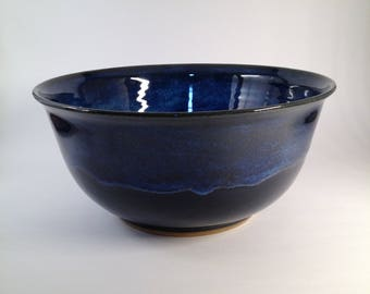 Large pottery bowl, ceramic bowl, handmade pottery, blue bowl