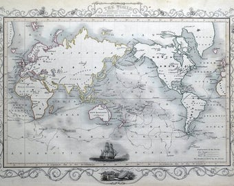 WORLD Shewing voyages of CAPTAIN COOK, Rapkin antique map 1851