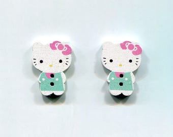 lot 2 Hello Kitty Cat buttons * blue * wood 24mm