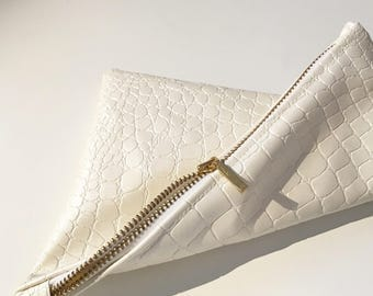 White Crocodile Clutch