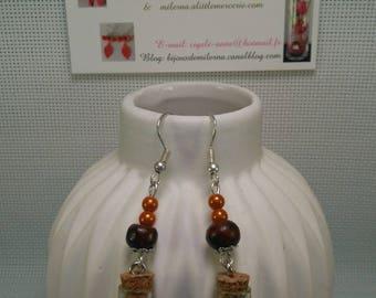 #12 # earrings bottle, orange and Brown