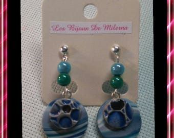 Pair of earrings, blue/grey, silver polymer clay