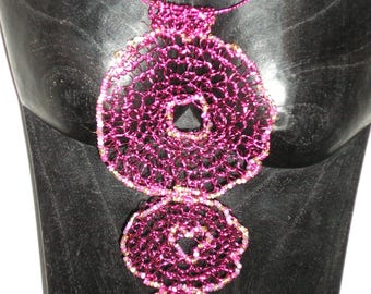 Dark pink wire crocheted necklace