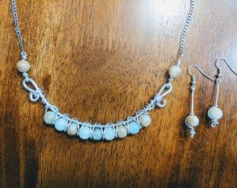 Bohemian Wire Jewelry Necklace w/ Matching Earrings Set