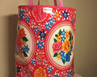 37x43cm red oilcloth tote bag