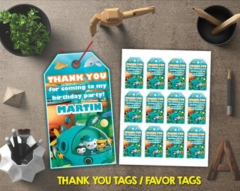 Octonauts Thank You Tags, Octonauts Favor Tags, Octonauts Gift Tags, Octonauts Tags Printables