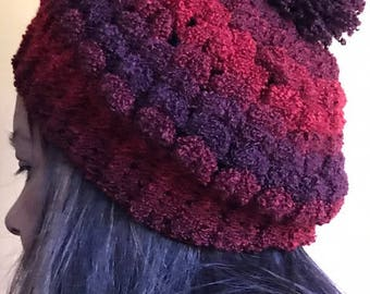 Red Handmade one of a kind hat from recycled yarn. Super soft