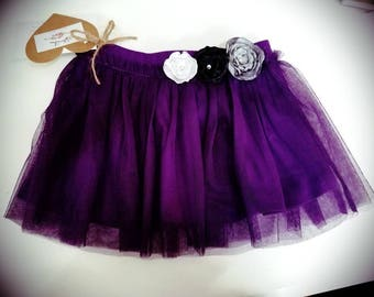 Purple Tutu with Handmade Flowers