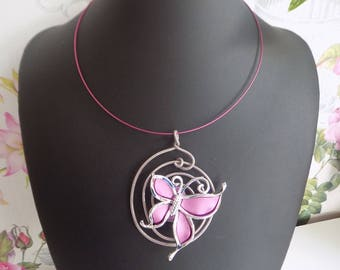 Butterfly on a thin rigid necklace Choker