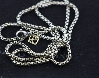 david yurman 2.7mm 925 sterling silver and 14k gold box chain 20 inch
