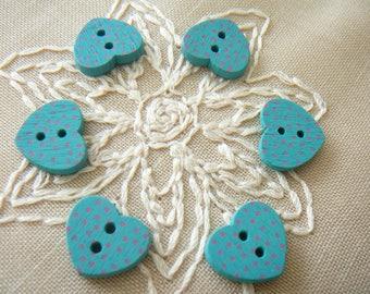 6 green dots, new, 2 holes wooden buttons - 15 mm