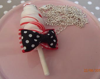 Marbled red and white twist lollipop necklace