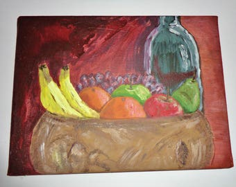 Fruit and Wine Acrylic Painting