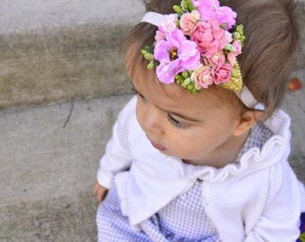 Pink and Gold Floral Headband - Pink Flower Crown - Baby Headband