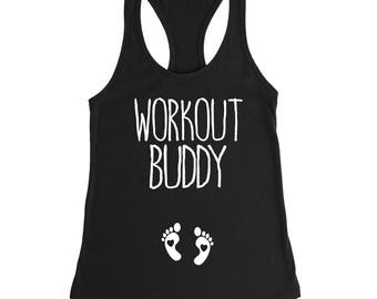 Pregnancy tank top, Workout buddy tank top, Pregnancy shirt, Cute pregnant shirt, pregnancy announcement shirt, maternity workout shirt