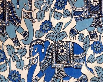 fabric KALAMKARI, viscose cotton blend, ethnic elephant blue and white patterns