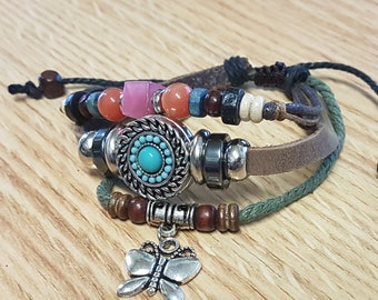 Adjustable Leather Turquoise Snap jewelry Butterfly Charm Bracelet