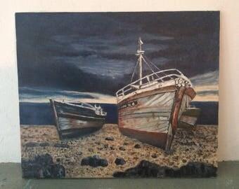 Painting: Old Boats at Roscanavel