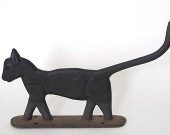 ANTIQUE BLACK CAT Cast Iron Boot Scraper and Doorstop - Early 1900's