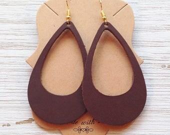 Brown leather cut-out earrings, Leather earrings, Statement earrings, Boho