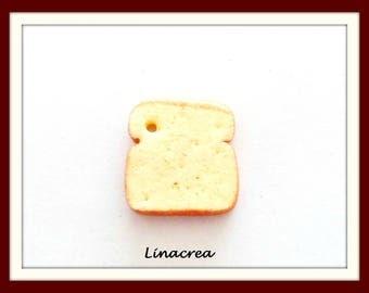 x 1 bakery bread slice of cake 1,5 cm Fimo polymer clay charm