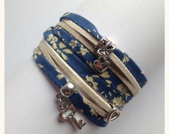 Liberty bracelet - Midnight Blue Capel fabric.