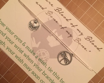 Outlander bracelet, wish bracelet, outlander wedding, wedding vows bracelets, couples wish bracelets, outlander Jamie and Claire