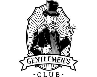 Gentlemen Club Cigar Barber Style Fashion Bandanna Hipster Style Hairstyle Handsome .SVG .EPS .PNG Vector Space Clipart Digital Download